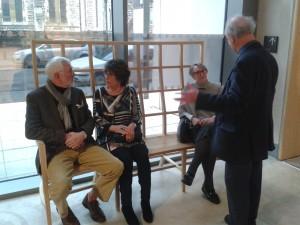 John Beattie, Jenny Ogle, Fran Beattie and Douglas Ogle from the Friends try out the bench