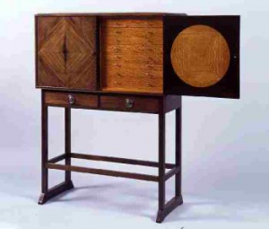 Cabinet on a stand, designed by Ernest Gimson 1902-5 – purchased for £1,200 by the Friends in 2007.  Collector's cabinet veneered in rosewood on to mahogany with cut macassar ebony inlay. Inside are 16 drawers veneered in satinwood with silver handles.  The cabinet, except probably the silver handles, was made at Daneway by Gimson's workforce.  The four-square design and the flush surfaces of the front, rich materials and bold inlaid decoration predate Art Deco designs of the 1920s.