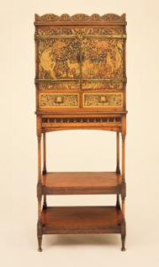 The Friends contributed £2,000 in 1985 towards a music cabinet and stand (c. 1889) designed by William Arthur Smith Benson and George Heywood Maunoir Sumner. This piece may have been made by Morris & Co., for whom Benson worked as a designer. The subject of the decoration by Sumner is the ancient Greek bard Orpheus charming the animals. It is executed in the unusual technique of wax stopping.