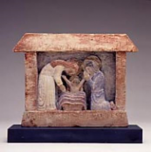 In 1993, the Friends contributed £223 towards the purchase of a limestone carving, coloured in blue and sanguine depicting the Nativity designed and carved by Eric Gill in 1920, based on a design by one of his children.  This sculpture dates from the time when Gill was living on Ditchling Common in Sussex, where he pursued his desire for a self-sufficient lifestyle.  Inspired partly by William Morris, he brought together a group of Catholic craftsmen in the belief that their work was a form of divine worship.  In 1920 they founded the Guild of St Joseph and St Dominic, which continued until 1989. The Latin inscription on the base of the sculpture, which was made for Gill's children, translates as 'The Word became flesh' (John 1, v.14).