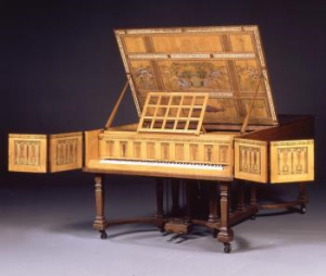 In 1996, the Friends contributed £7,000 towards the purchase of a semi-grand Broadwood piano designed by Charles Robert Ashbee in 1898-9 and made by the Guild of Handicraft in 1900.  It was made as a wedding present from Ashbee to his new wife, Janet Forbes, who was a keen pianist. The painting was done by Walter Taylor, who had been an apprentice at the Guild of Handicraft, and who had gone on to work at Morris & Co.  The words and images were taken from a poem by Ashbee titled Beethoven in Olympus; he had a particular fondness for that composer's work.  It was a focal point in the Ashbee household until the 1940s when it was given to Toynbee Hall, the pioneer University Settlement in the East End of London where Ashbee established the Guild of Handicraft in 1888.