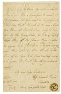 A personal letter from Queen Charlotte to her close friend Lady Courtown, regarding the King's and Queen's future visit to Cheltenham and requesting that three pews should be reserved for the royal party at Cheltenham parish church.  Written from Windsor and dated 29th June 1788.  Bears a small circular paper stamp in the bottom right hand corner, relating to the Rawlings Collection, a previous owner of the letter.  This was purchased by the Friends in 2019 for £1,870.