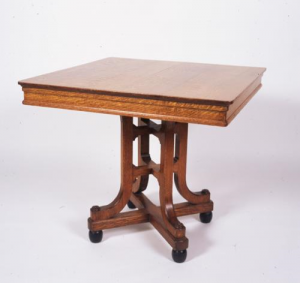 In 1999, the Friends contributed £3,500 towards an oak table with ceramic ball feet designed by Augustus Welby Northmore Pugin and made in his Covent Garden workshop in the 1830's.  The subdued Gothic Revival design of the table is a precursor of work by arts and crafts designers.